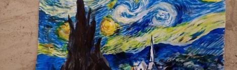ゴッホの星月夜の模写絵